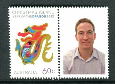 2012 Christmas Island Year of The Dragon - MUH 60c Dragon With Personalised Tab