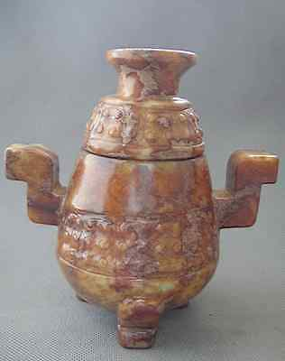 Decorative collection Ancient Chinese jade hand-carved vase