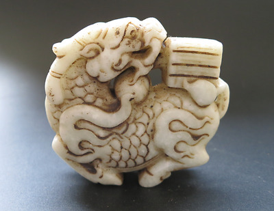 Old Chinese HongShan culture white jade/stone hand-carved dragon statue Y276