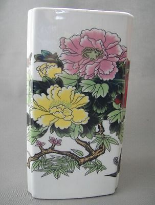 Old Chinese Handwork Jingdezhen Porcelain Paint Peony and birds Brush Pot