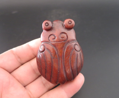 Old Chinese HongShan culture jade hand-carved cicada amulet pendant Y4328