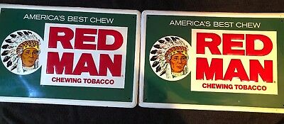 2 Vintage America's Best RED MAN Chewing Tobacco Advertising Tin Sign 2 Colors!