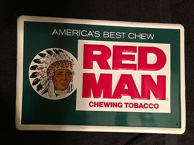 Vintage America's Best RED MAN Chewing Tobacco Old Store Advertising Tin Sign