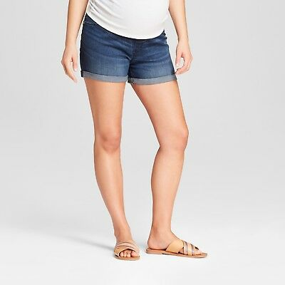 Maternity Crossover Panel Midi Jean Shorts - Dark Wash – Sizes 2-18 Isabel #d3