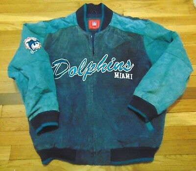 best sneakers c0e09 c77b2 VINTAGE NFL TEAM Apparel Miami Dolphins Suede Leather Jacket Size Xl