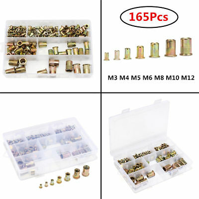 165pcs Mixed Zinc Plated Carbon Steel Rivet Nut Threaded Insert Nutsert M4 5 6 8