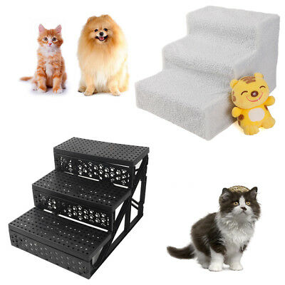 New Plastic Pet Cat Dog Stairs Ladder 3 Step Play Ramp White/Beige Home Indoor