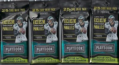 (4) 2018 Panini PLAYBOOK Football NFL Trading Cards 25c Retail FAT PACK LOT FS
