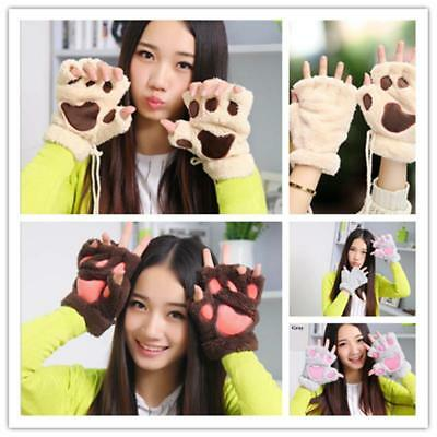 Cat Glove Mitten Furry Half Fingerless Gloves Mitts Cotton Thermal Paw Winter AL