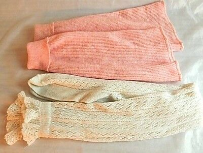Vintage 1980s White Knit Thigh High Socks Retro Pink Calf Leg Warmers Preppy