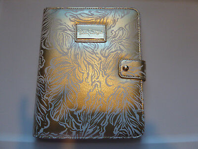 Lilly Pulitzer Agenda Folio Gold Leaf Leatherette Cover With Pen Loop New NWT