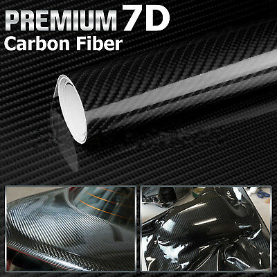 7D Premium HIGH GLOSS Black Carbon Fiber Vinyl Wrap Bubble Free Air Release