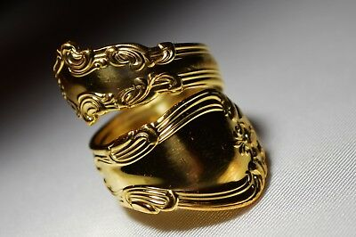 "GOLD GILDED FANCIEST GORHAM CHANTILLY Sterling Silver ""SPOON"" RING Sz 7"