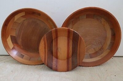 3 NEW ZEALAND Native woods timber parquetry BOWLS Kaimanawa & Sovereign
