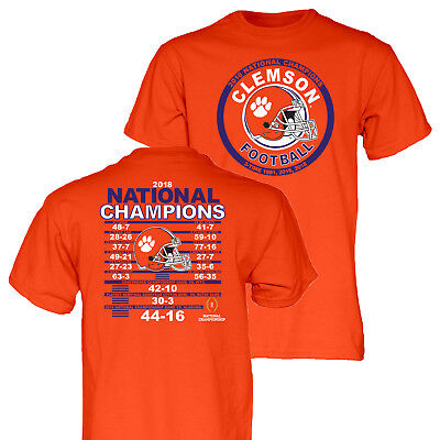 Clemson Tigers 3-Time 2018-2019 Football National Champions Orange SS T-Shirt