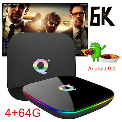 2019 6K 4+64GB Q plus Android 8.1 Quad Core Smart TV Box WIFI USB3.0 H.265 Media