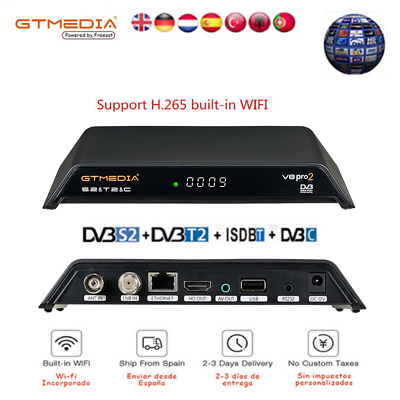 GTMEDIA V8 PRO2 H.265 DVB-S2+T2/Cable/ISDBT Built-in Wifi HD 1080P TV Satellite