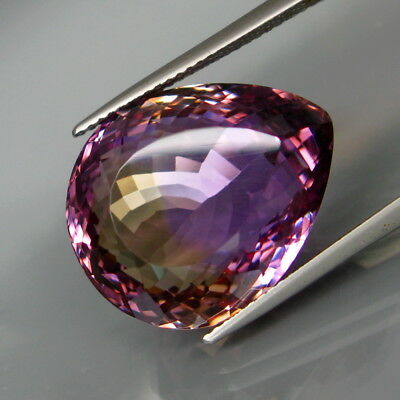 28.43Ct.Real 100%Natural HUGE Purple&Golden Bolivia Ametrine Full Fire&Eye Clean