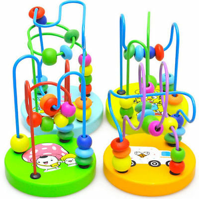 US Educational Baby Kids Wooden Around Beads Toddler Infant Intelligence Toys