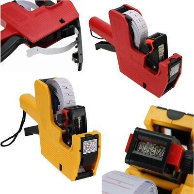 MX-5500 8 Digits EOS Price Tag Gun + White with Red Lines Labels + 1 Ink Roll UK