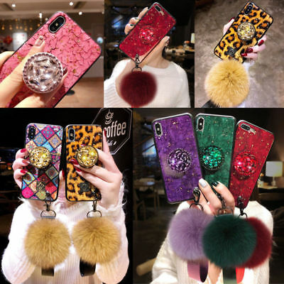 For iPhone XS MAX XR 7 8 Plus Bling Diamond Stand Plush Ball pop up Grip Case UK