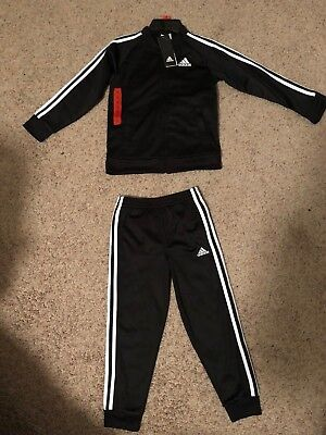 Adidas Little Boys 3 Stripe Jacket Jogger Pants Kids Tracksuit Size 2T 3T 4T 5