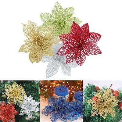 10pcs/set Glitter Hollow Artificial Flowers Christmas Tree Xmas Party Home Decor
