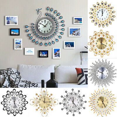 Living Room Wall Clock Bedroom Vintage Large Clock Diamond Metal Home Decoration