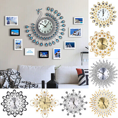 Vintage Wall Clock Living Room Bedroom Large Clock Diamond Metal Home Decoration