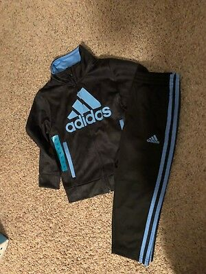 Boys adidas Jacket and 3 Stripe Jogger Track Suit Set Size 4T 6 7 Kids