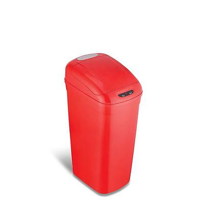 NINESTARS Automatic Touchless Infrared Motion Sensor Trash Can, 8 Gal 33L, Red.