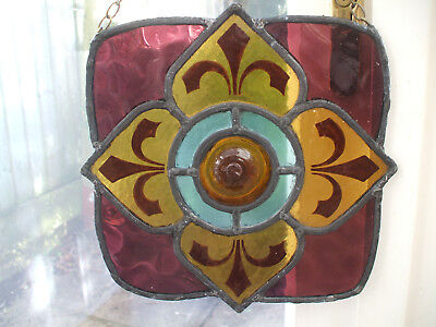 Original Antique Stained Glass Window Panel From Old Church -Very Ecclesiastical