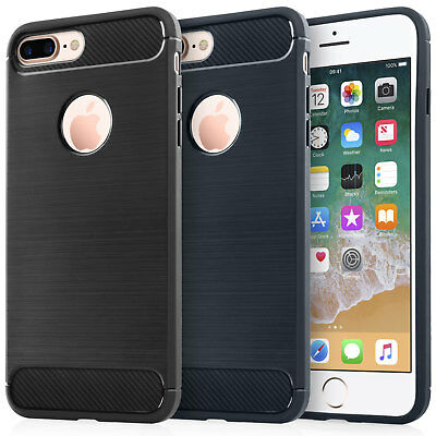 Apple iPhone 7 8 X Plus Cases Shockproof Carbon Fibre Style Silicone Case Cover