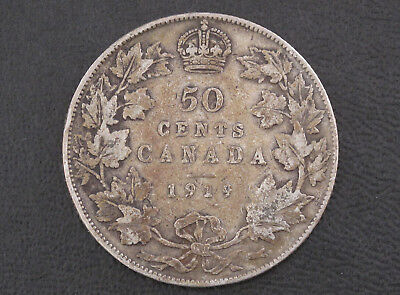 1919 Canada Fifty Cents .925 Silver Coin D8611
