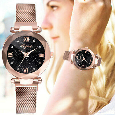 Fashion Starry Sky Diamond Stainless Steel Mesh Watch Casual Quartz Analog Watch