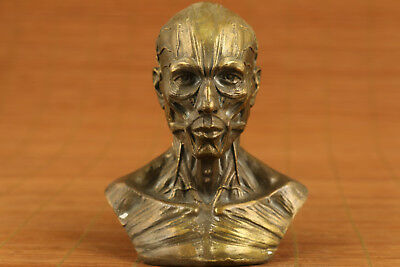 chinese old bronze hand carved skull man statue collectable ornament netsuke