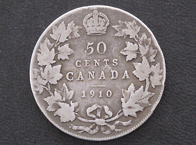 1910 Canada Fifty Cents .925 Silver Coin D8625