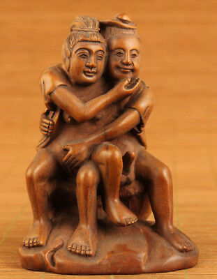 chinese old boxwood hand carved hug statue figure collectable ornament netsuke