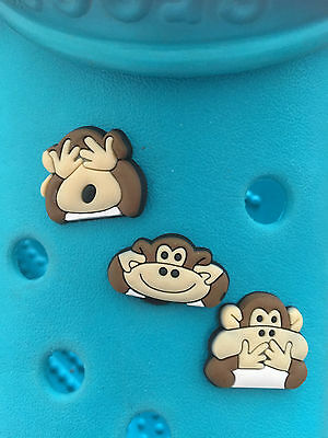 3 Wise Monkey Shoe Charms For Crocs and Jibbitz Wristbands. Free UK P&P.