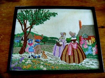 Beautiful Vintage Hand Embroidered Picture Panel Crinoline Ladies Children Dog