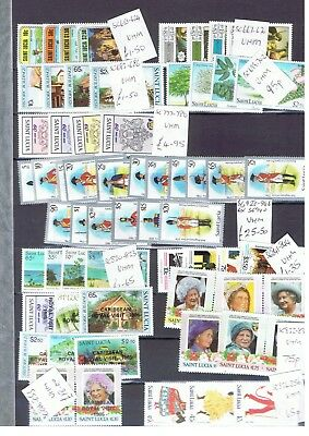 St Lucia nice collection of unmounted mint stamps all MNH 4 scans