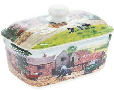 Farmyard Farm Scene China Butter Dish with Lid Ceramic Dining Table Home Gift
