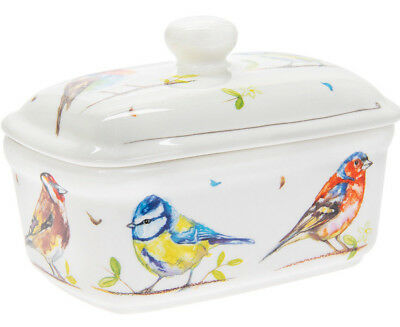 British Garden Birds Design China Butter Dish Ceramic Dining Table Home Gift New