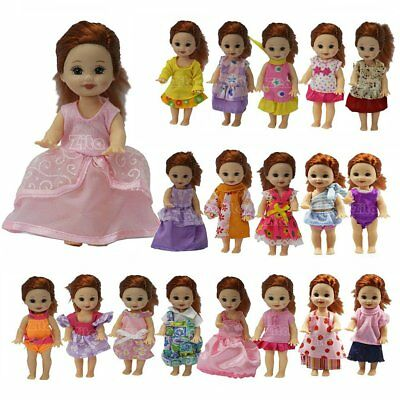 5 Sets Cute Dress Jumpsuits Outfit Clothes Suit For Kelly 4 Inch Girl Doll Gift