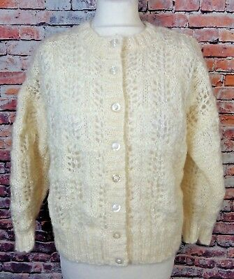 "Vintage hand knit cream mohair loose knit cardigan size 12 Bust 40"" blogger fav"