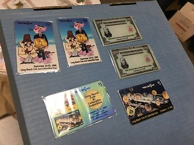 (6) Long Beach Coin Expo phone cards 1994 1995 1996 1997