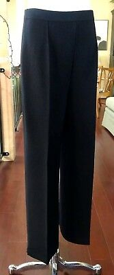 St. John Collection Marie Gray Sweater Knit Black Pants Pleated Front Sz 8 NWOT