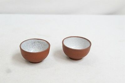 2 Vintage Chinese White Crackle Inside Pottery Tea Cups