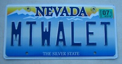 "Silver State Nevada Vanity Auto License Plate "" Mt Walet "" Empty Wallet Broke"