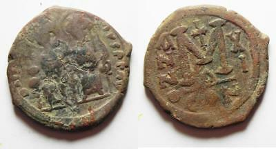 ZURQIEH -as9476- BYZANTINE EMPIRE. JUSTIN II & SOPHIA BRONZE FOLLIS